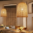Elongated Dome Ceiling Light Chinese Bamboo 1 Bulb Pendant Lighting Fixture in Beige