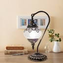 Clear Crackle Glass Oval Night Lamp Antiqued 1-Bulb 15