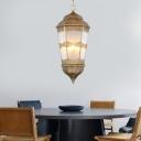 Metal Lantern Chandelier Pendant Lamp Vintage 3 Bulbs Corridor Hanging Ceiling Lamp in Brass