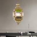 3 Lights Metal Ceiling Chandelier Art Deco Brass Lantern Restaurant Hanging Lamp Kit