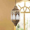 4 Heads Cylinder Pendant Chandelier Vintage Brass Metal Hanging Lamp with Cream Glass Shade