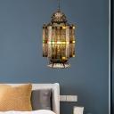 4 Lights Metal Chandelier Lighting Art Deco Brass Castle Shaped Dining Room Hanging Lamp Fixture