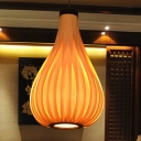 Pear Wood Hanging Lamp Chinese 1 Bulb Beige Ceiling Pendant Light for Dining Room