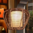 Bamboo Urn Pendant Lamp Chinese 1 Bulb Brown Hanging Light Kit with Inner Cylinder Parchment Shade