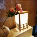 Rectangle Small Desk Lamp Chinese Wood 1 Head Beige Task Lighting for Dining Room