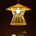 Laser Cut Bamboo Ceiling Light Japanese 1 Head Beige Suspended Lighting Fixture