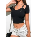 Cool Leather Buckle Decoration Cutout Detail Short Sleeve Black Cropped T-Shirt