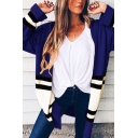 Womens Classic Colorblock Stripe Printed Long Sleeves Open Front Longline Knit Cardigan