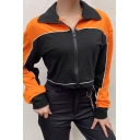 Womens Casual Color-Block Patchwork Long Sleeve Lapel Collar Zip Up Cropped Jacket Sport Coat