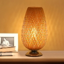 1 Head Living Room Task Lighting Asian Beige Small Desk Lamp with Cup Bamboo shade