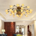 Metal Blossom Ceiling Lighting Traditional 25 Heads Living Room LED Semi Flush Mount Light Fixture in Brass