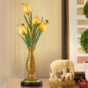 Pastoral Style Tulip Nightstand Lighting 5-Light Amber Glass Night Table Lamp in Gold for Living Room