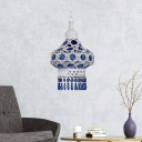 1-Bulb Metal Ceiling Suspension Lamp Retro White/Blue Lantern Dining Room Hanging Light Fixture