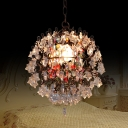 Metal Sphere Pendant Ceiling Light Vintage 1 Head Living Room Drop Lamp in White
