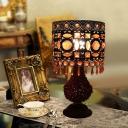 Cylinder Bedroom Night Table Lamp Art Deco Metal 1 Light Rust Nightstand Lighting