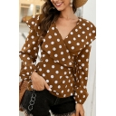 Pretty Ladies' Coffee Long Sleeve Surplice Neck Polka Dot Tied Waist Slim Fit Blouse Top