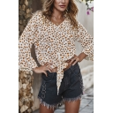 Gorgeous Women's Bell Sleeve V-Neck All Over Floral Pattern Button Down Tied Hem Relaxed Blouse Top