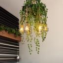Exposed Bulb Metal Chandelier Lighting Industrial 6 Lights Restaurant LED Ceiling Lamp in Black