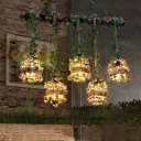 Metal Black Island Pendant Light Cage 5 Bulbs Industrial Plant Hanging Lamp Kit for Restaurant