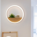Acrylic White Sconce Wall Light Round LED Industrial Wall Lighting Fixture with Plant Decor, 8