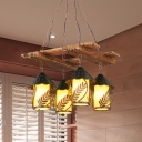 4 Lights Island Light Fixture Farmhouse House White Fabric/Clear Glass Linear Pendant in Brown for Living Room