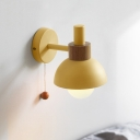 Macaron Bowl Wall Lighting Metal 1 Head Sconce Light Fixture in White/Green/Pink with Arm