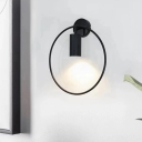 Contemporary 1 Bulb Sconce Light Black Cylindrical Wall Mounted Lighting with Metal Shade