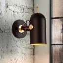 Black Cylinder Sconce Light Modernism 1 Head Metal Wall Lighting Fixture with Adjustable Arm