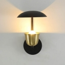 Trumpet Wall Lighting Modernist Metal 1 Bulb Sconce Light Fixture in Black and Gold/White and Gold