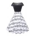 Glamorous Girls' Black Short Sleeve Boat Neck Lace Patched Music Note Print Long Pleated Swing Dress