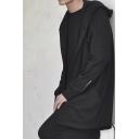 Men's Vintage Solid Color Long Sleeves Open Front Drawstring Hem Tunic Cape Hoodie Coat