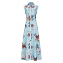Light Blue Pretty Sleeveless Lapel Neck All Over Floral Print Button Down Long A-Line Shirt Dress for Ladies