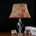 Bell Bedroom Table Light Traditionalism Fabric 1 Bulb Beige Night Lamp with Crystal Panel