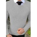 Men's Classic Solid Color Long Sleeve Round Neck Slim Fit Knitted Pullover Sweater