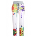 Stylish Women's Drawstring Patterned Ankle Length Straight Leg Trousers