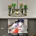 Green 7/10 Heads Chandelier Lighting Vintage Metal Wine Bottle and Plant LED Suspension Pendant for Restaurant