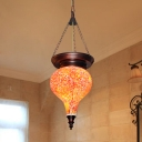 1 Light Suspension Pendant Traditional Teardrop Orange Red Stained Glass Hanging Light Kit