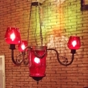 4 Heads Red Glass Ceiling Chandelier Art Deco Black Cup Shaped Restaurant Suspension Pendant Light