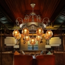Ball Tan Glass Chandelier Lighting Traditional 9 Heads Restaurant Suspension Pendant Lamp