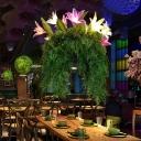 Green 12 Bulbs Pendant Chandelier Industrial Metal Lily Ceiling Hang Fixture for Restaurant