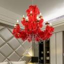 Red Candelabra LED Chandelier Light Vintage Metal 12 Lights Restaurant Flower Drop Lamp with Crystal Accent