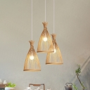 Wide Flare Bamboo Ceiling Light Japanese 1 Bulb Wood Suspended Lighting Fixture for Teahouse