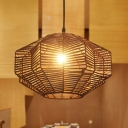 Lantern Rattan Ceiling Lamp Asia 1 Head Coffee Hanging Light Fixture for Dining Room