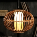 Bamboo Lantern Ceiling Lamp Asian 1 Bulb Brown Hanging Light Kit with Inner Tube Parchment Shade