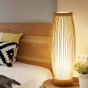 Oval Desk Light Asian Bamboo 1 Head Wood Task Lighting with Inner Tubular Fabric Shade