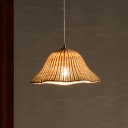 1 Head Hand-Worked Pendant Light Chinese Bamboo Ceiling Suspension Lamp in Flaxen