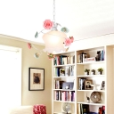 1-Bulb Suspension Lighting Pastoral Blossom White Glass Pendant Light Fixture for Living Room