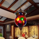 Red Glass Jar Hanging Chandelier Traditionalism 3 Heads Living Room Suspended Lighting Fixture