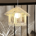 Handcrafted Pendant Lighting Chinese Bamboo 1 Head Ceiling Suspension Lamp in White
