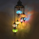 Blue Rotate Hanging Chandelier Vintage Stained Glass 7 Heads Bar Ceiling Pendant Lamp